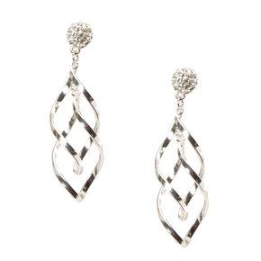 Silver Tone Fireball & Swirl Drop Earrings,