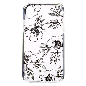 Black Floral Clear Protective Phone Case - Fits iPhone XR,