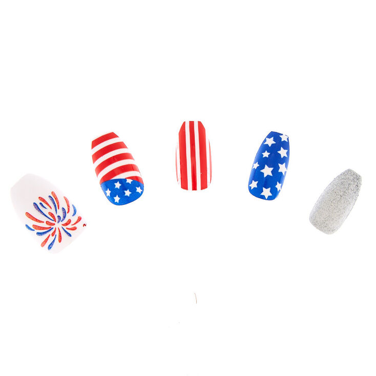 American Flag Coffin False Nails - 24 Pack,