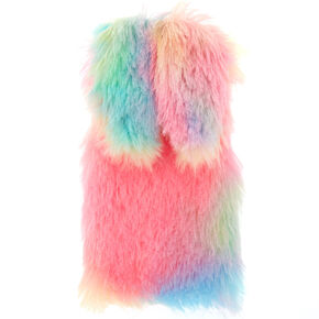 Pastel Rainbow Faux Fur Bunny Phone Case  - Fits iPhone 6/7/8 Plus,