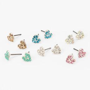 Lovely Hearts Crystal Stud Earrings Set - 6 Pack,