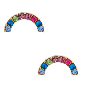 Gold Rainbow Moon Stud Earrings,