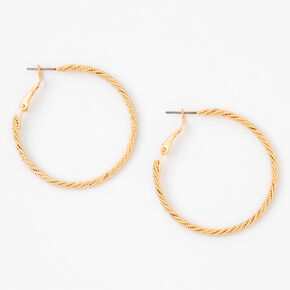 Gold 40MM Laser Cut Twisted Hoop Earrings,