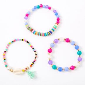 Rainbow Beaded Cowrie Shell Stretch Bracelets - 3 Pack,
