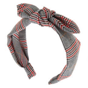 Menswear Plaid Bow Headband - Black,