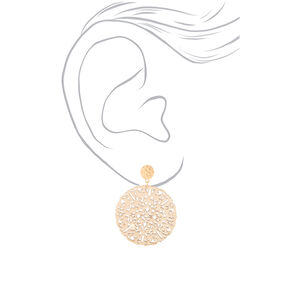 "Gold 2"" Filigree Wooden Disc Drop Earrings - Cream,"