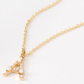 Gold Pearl Initial Pendant Necklace - A,