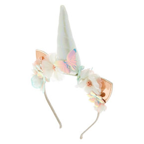 Holographic Unicorn Cat Ears Headband - Rose Gold,