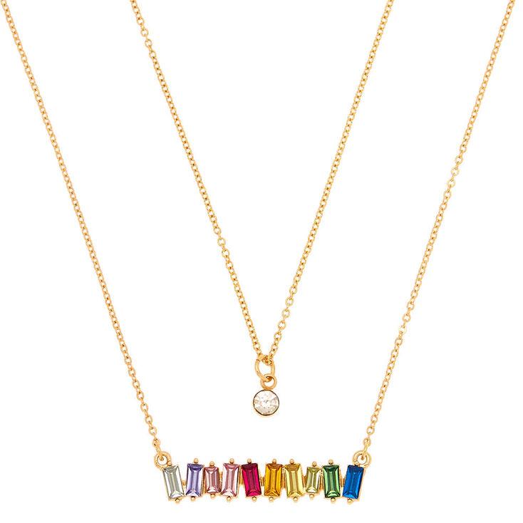 Rainbow Stone Pendant Necklaces - 2 Pack,