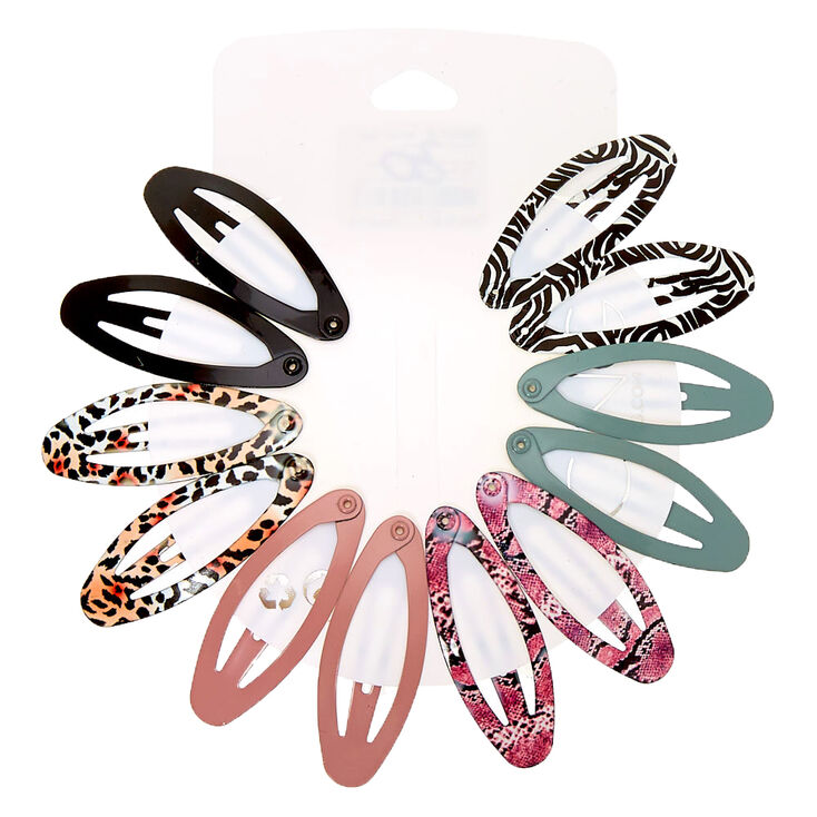 Solid Animal Print Oval Snap Hair Clips - 12 Pack,