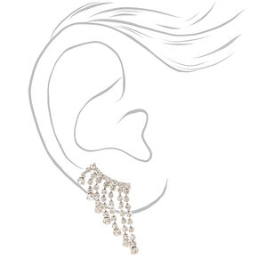 "Silver 1"" Embellished Dangle Ear Crawler Earrings,"