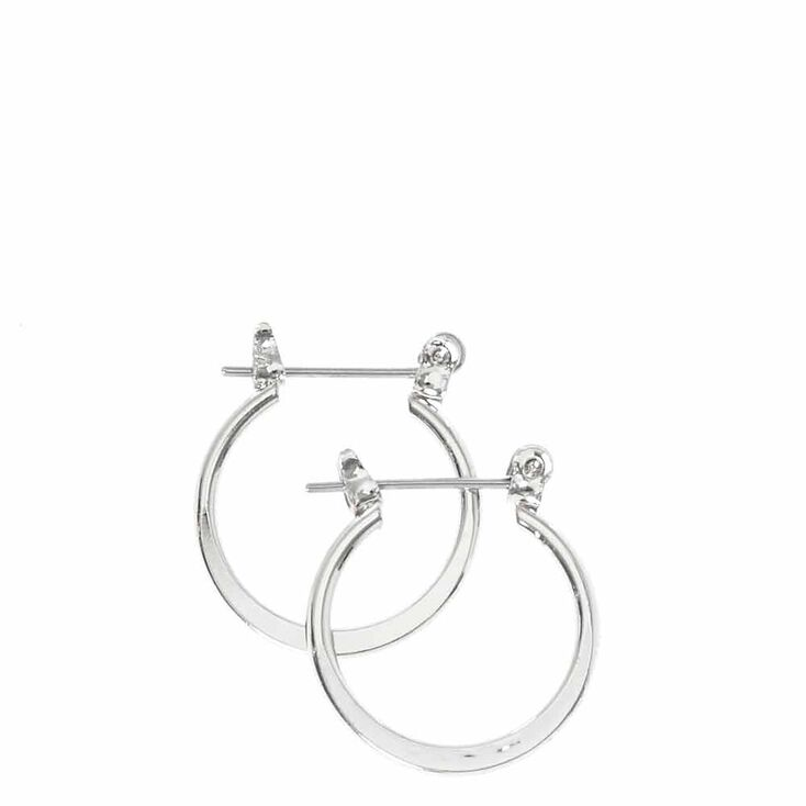 Mini Silver Tone Knife Edge Hoop Earrings,