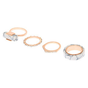Rose Gold Marble Rings - 4 Pack,