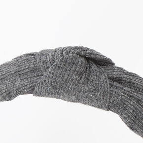 Ribbed Knotted Headband - Charcoal,