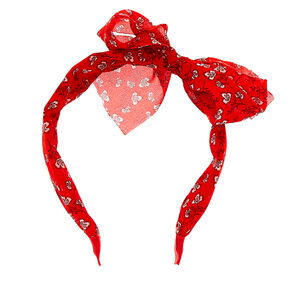 Floral Bow Headband - Red,