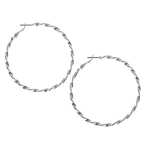Silver 60MM Twisted Hoop Earrings,
