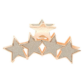 Rose Gold Glitter Star Hair Claw - Silver,