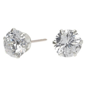 Sterling Silver Cubic Zirconia 10MM Round Stud Earrings,