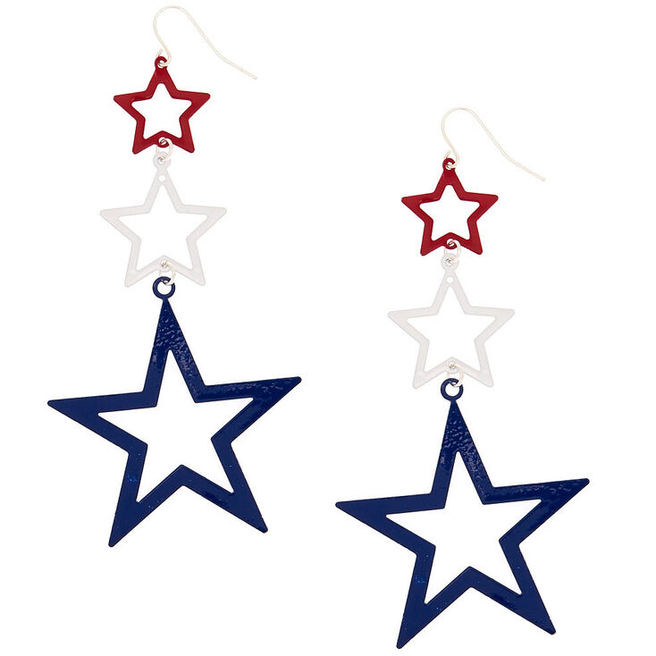 "3.5"" Multi Star Drop Earrings,"