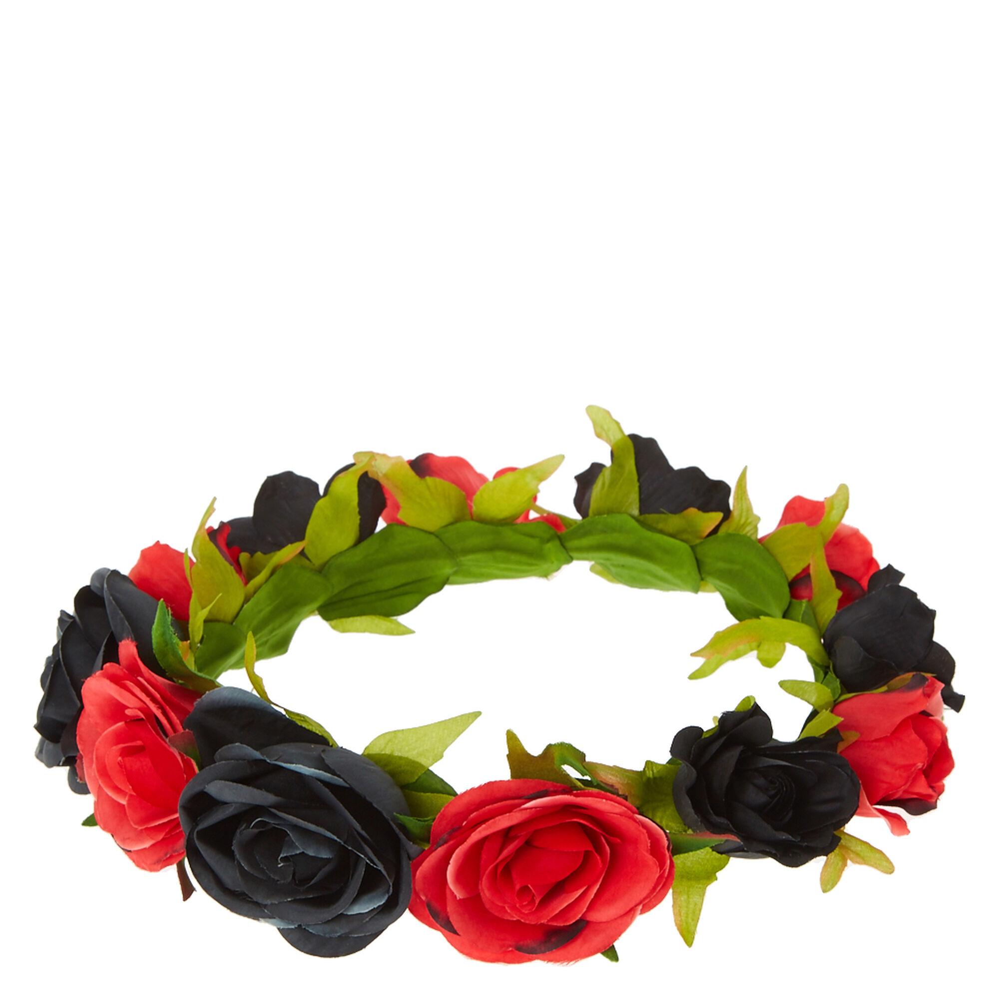Black red rose flower crown icing us black amp red rose flower crown izmirmasajfo