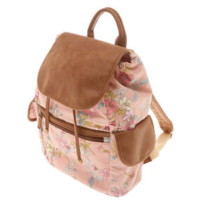 Floral Flap Backpack - Pink,