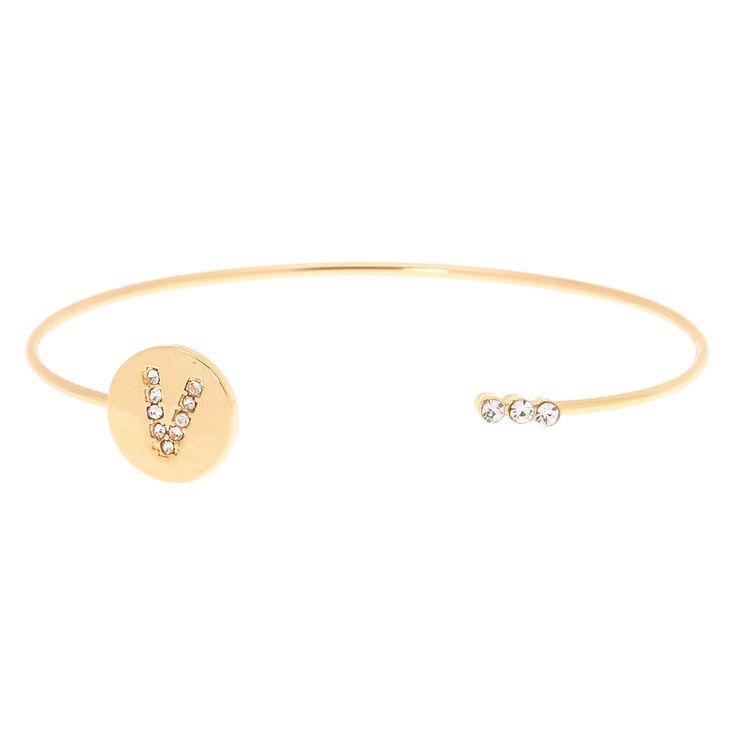 Gold Initial Cuff Bracelet - V,