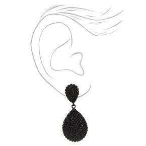 """Black 1.5"""" Rhinestone Teardrop Drop Earrings,"""