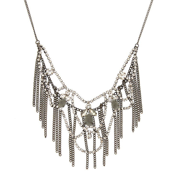 Hematite Velvet Fringe Statement Necklace,
