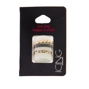 Leopard Print Stud Toe Ring Set,