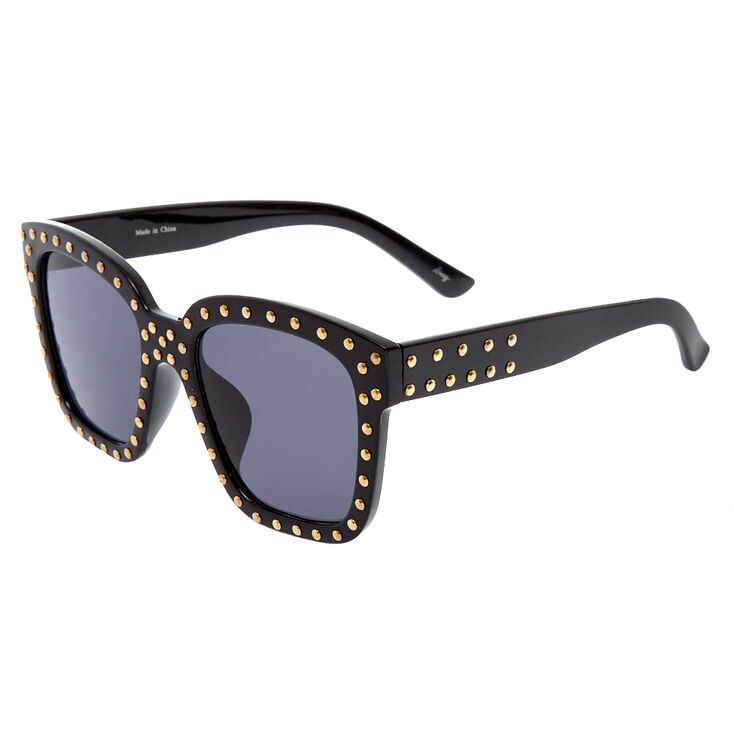 Black Studded Oversized Sunglasses,