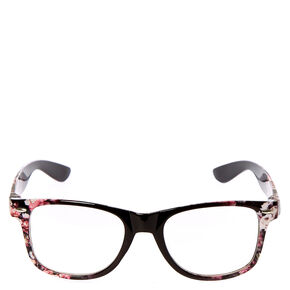 Floral Retro Clear Lens Frames - Black,