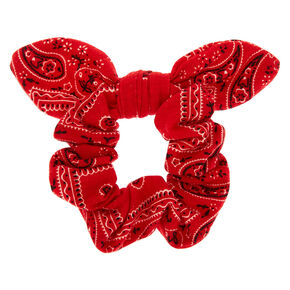 Paisley Print Bandana Bow Hair Scrunchie - Red,