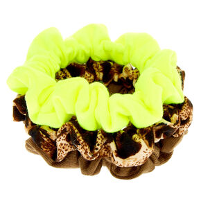 Small Neon Leopard Hair Scrunchies - 3 Pack,