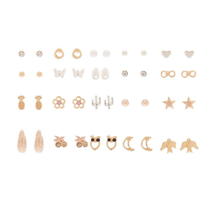 Mixed Metal Favorite Charm Stud Earrings - 20 Pack,