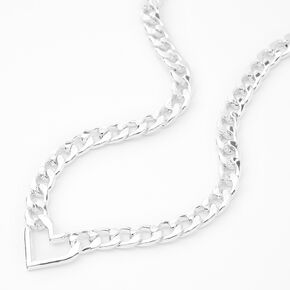 Silver Open Heart Chunky Chain Link Necklace,