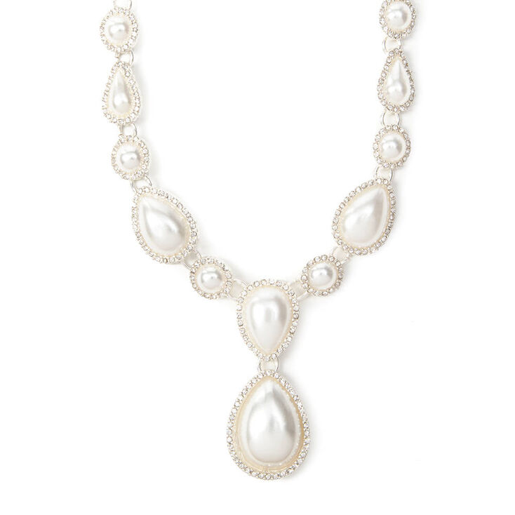Vintage Style Jewelry, Retro Jewelry Icing Rhinestone Framed Pearl Teardrops Statement Necklace $28.50 AT vintagedancer.com