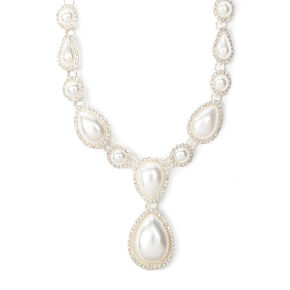 Rhinestone Framed Pearl Teardrops Statement Necklace,