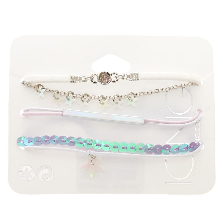5 Pack Holographic Star Bracelet Set,