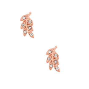 18kt Rose Gold Plated Leaf Stud Earrings,
