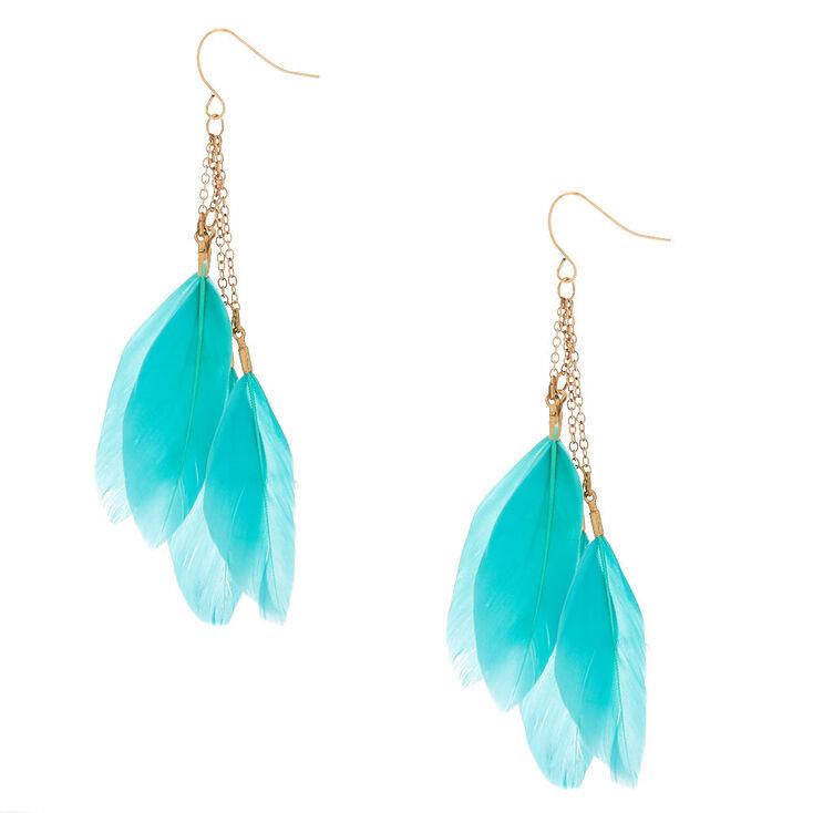 """Gold 3"""" Feather Drop Earrings - Mint,"""
