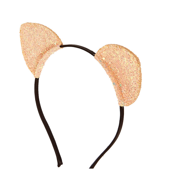 Rose Gold Glitter Cat Ears Headband,
