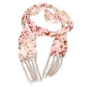Skinny Silk Floral Scarf,