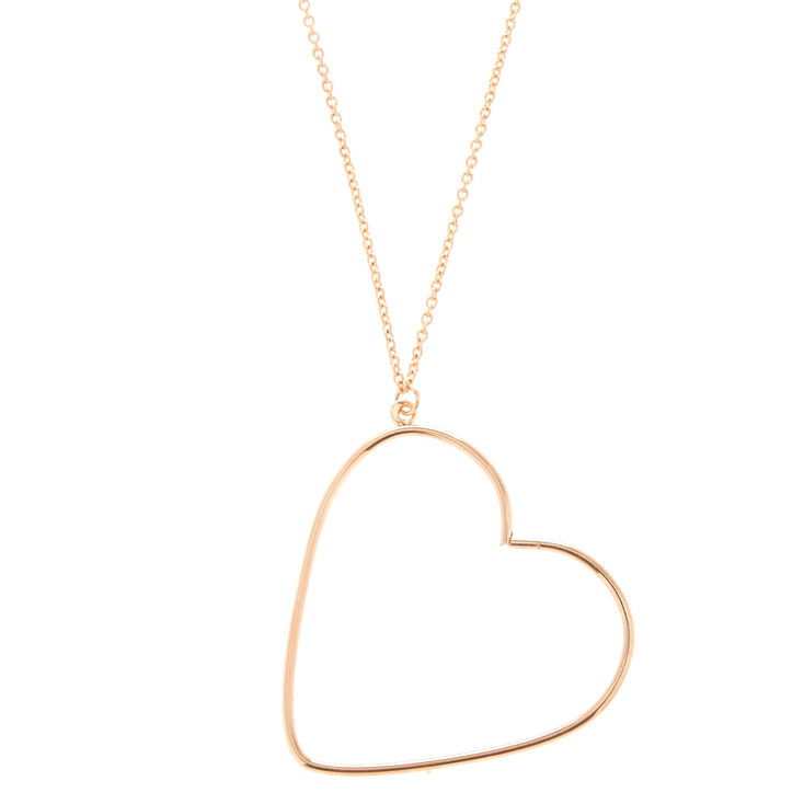 Rose Gold Long Heart Pendant Necklace,