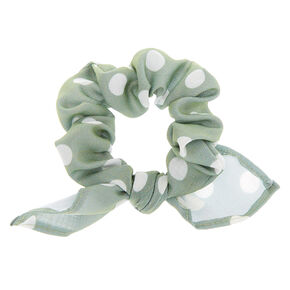 Polka Dot Knotted Bow Hair Scrunchie - Sage,