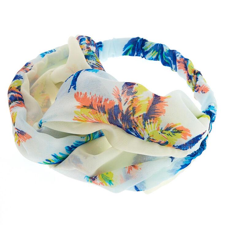 Blue Palm Pattern Turban Headwrap,