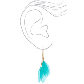 "Gold 3"" Feather Drop Earrings - Mint,"