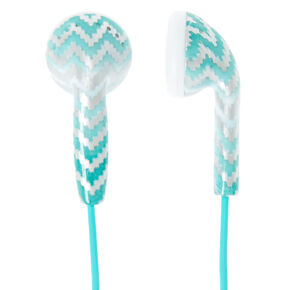 Mint Ombre Chevron Earbuds,