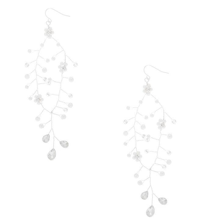 """Silver 4"""" Flower Petal Drop Earrings,"""