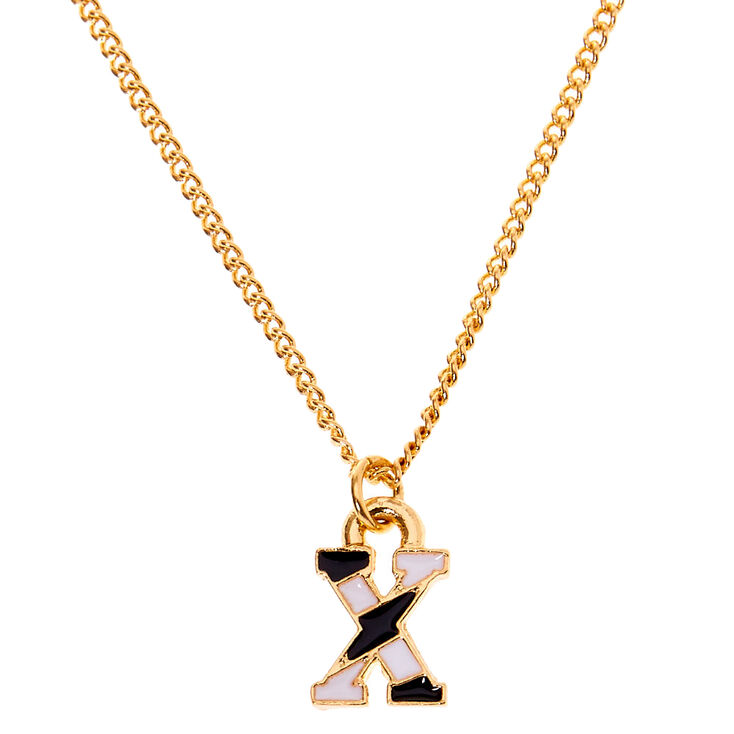 Gold Striped Initial Pendant Necklace - X,