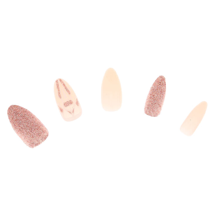 Glitter Geometric Faux Nail Set - Pink, 24 Pack,